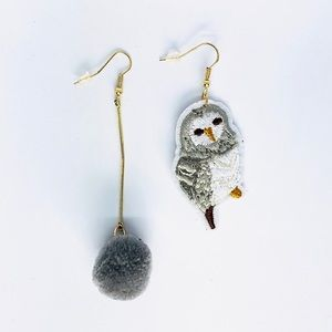 New! Owl Pom Pom Dangle Earrings Gray